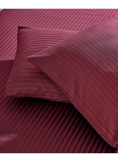 Komfort Home Çizgili Pamuk Saten Yastık Kılıfı (2 Adet) Bordo